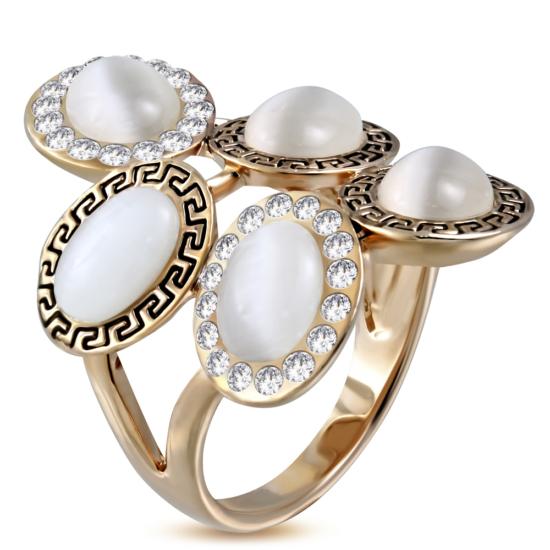 Arany színű, görög mintás koktél gyűrű, cirkónia kristállyal-5