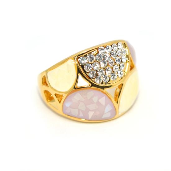 Swarovski kristályos dizájner gyűrű, arany színű-8