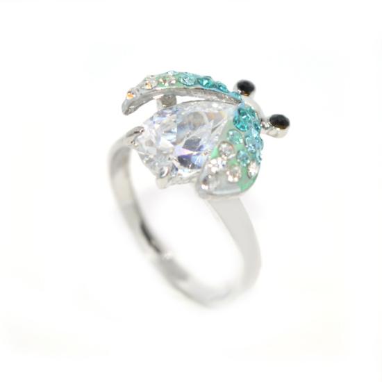 Katicabogaras Swarovski kristályos gyűrű, ezüst színű
