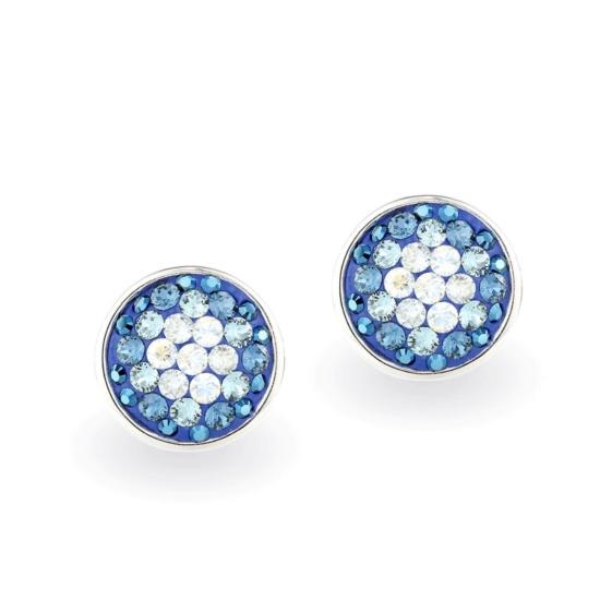 Swarovski ® kristályos ezüst fülbevaló - Twilight Orbit Kék