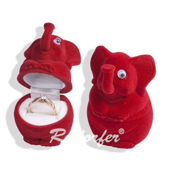 Piros színű, elefánt alakú ékszertartó doboz