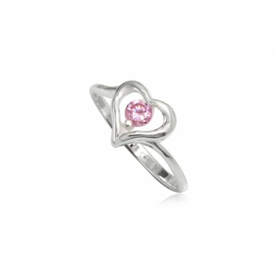 Szív alakú ezüst gyűrű pink cirkónia kristállyal-9