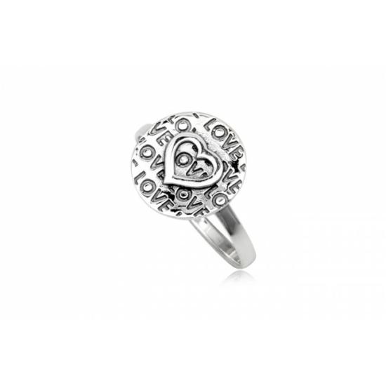 Ezüst szív mintás gyűrű