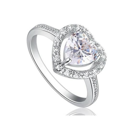 Szív alakú Swarovski kristélyos vékony gyűrű -6