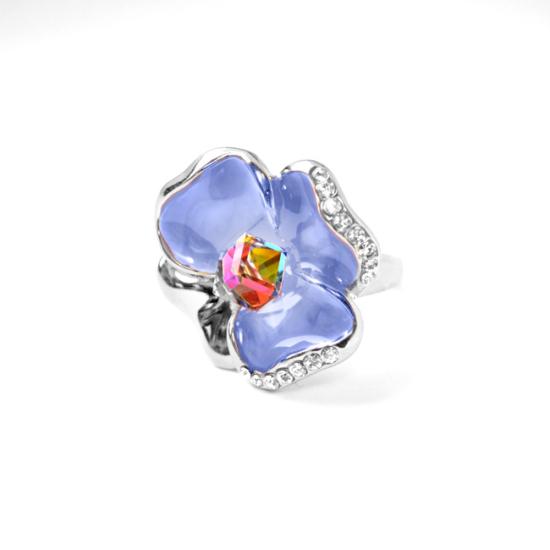 Lila árvácska Swarovski kristályos gyűrű, ezüst színű
