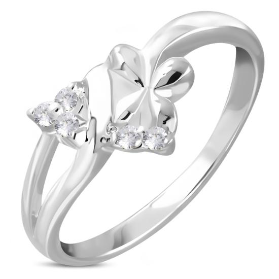 Ezüst színű, virág alakú gyűrű, cirkónia kristállyal
