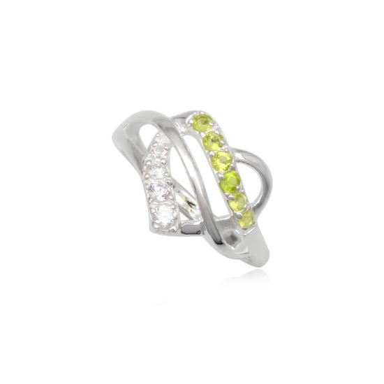 Szív alakú ezüst gyűrű sötét zöld cirkónia kristállyal