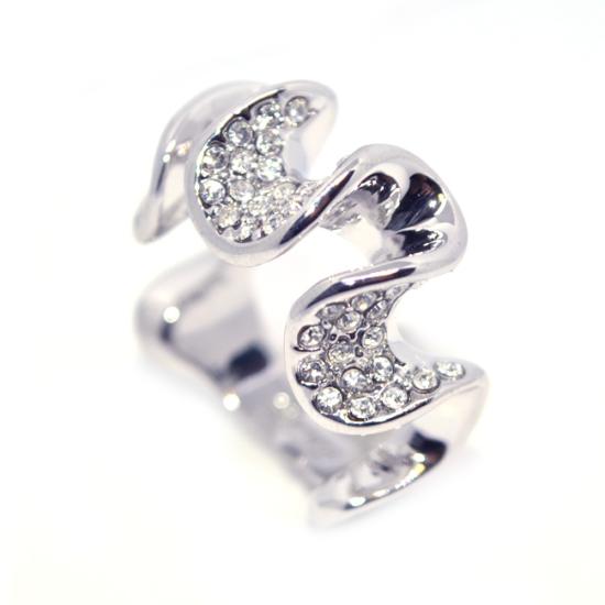 Hullám formájú Swarovski kristályos gyűrű-8