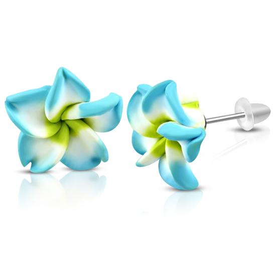 Sárga-fehér-türkizkék pluméria virág fülbevaló
