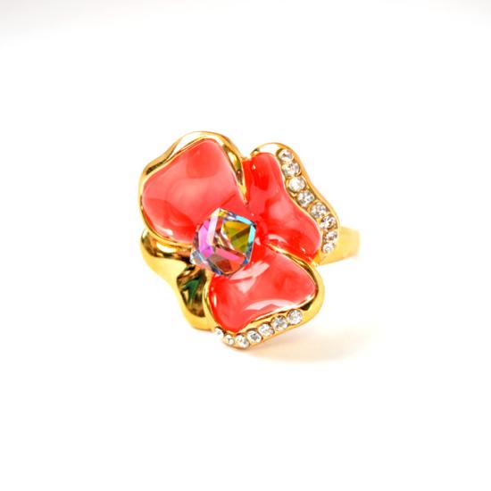Pink árvácska Swarovski kristályos gyűrű, arany színű-6