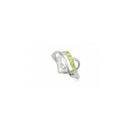 Szív alakú ezüst gyűrű sötét zöld cirkónia kristállyal-7