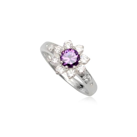 Ezüst gyűrű lila és fehér cirkónia kristállyal-8