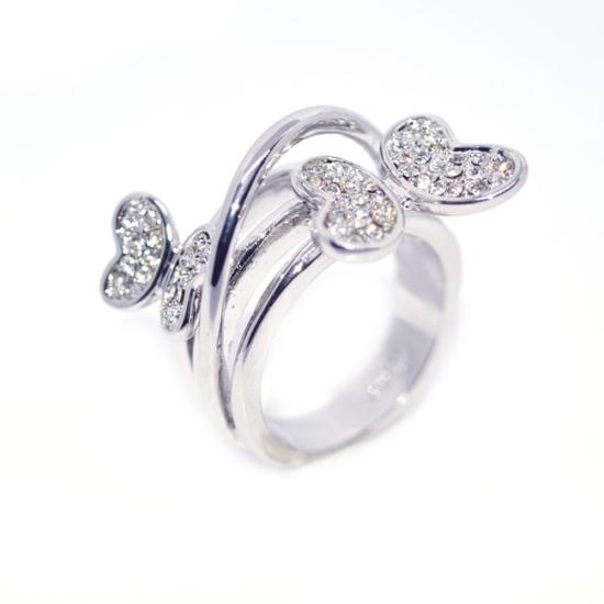 Pillangós Swarovski kristályos gyűrű-7