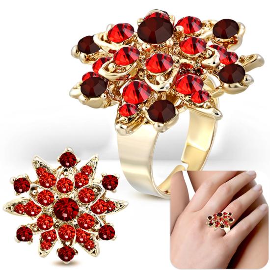Állítható, virág alakú koktél gyűrű, piros cirkónia kristállyal