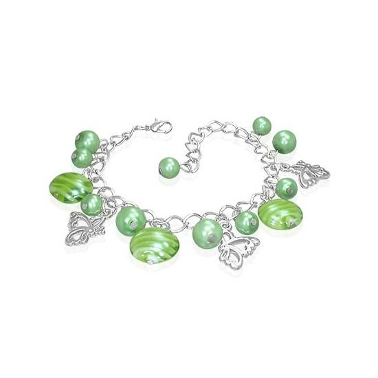 Ezüst színű karlánc zöld díszekkel