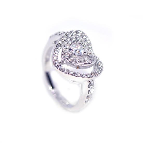 Szívben Szív Swarovski kristályos gyűrű-8