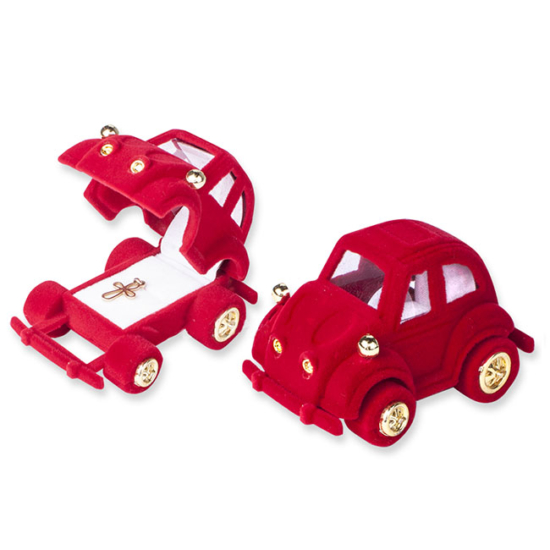 Piros színű, autó formájú ékszertartó doboz
