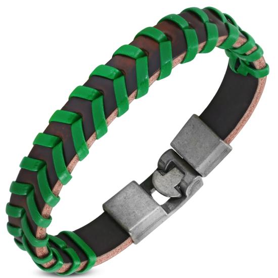 Zöld - fekete színű fonott bőr karkötő