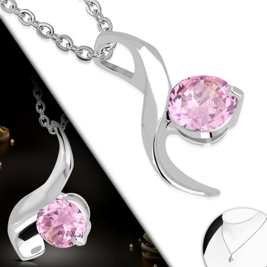 Ezüst színű nyaklánc, rózsaszín cirkónia kristályos medállal