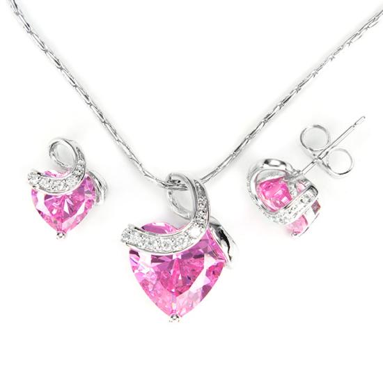 Exclusive Swarovski kristályos szett szív alakú rózsaszin  kővel, Díszdobozban