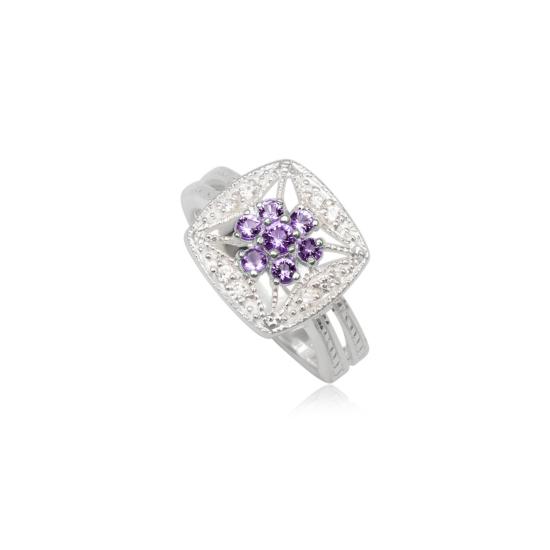 Ezüst gyűrű lila cirkónia kristállyal