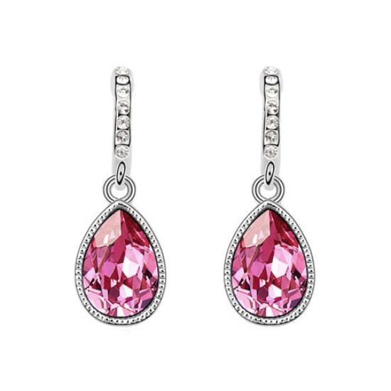 Swarovski kristályos fülbevaló Pink Csepp