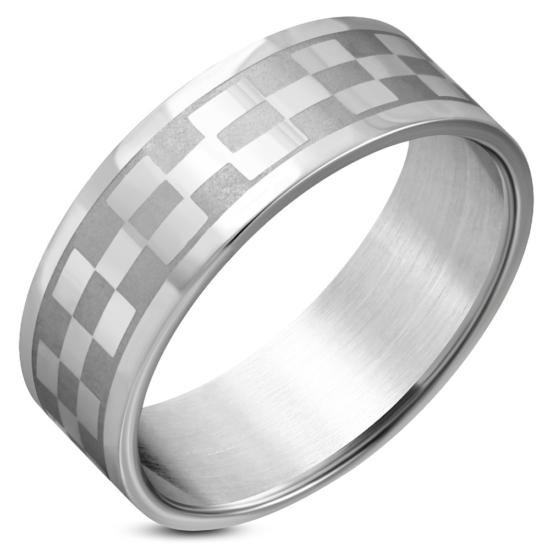 Ezüst színű, téglalap mintájú nemesacél gyűrű - 10.5