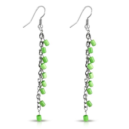 Divatos, hosszú, zöld színű, henger alakú fülbevaló