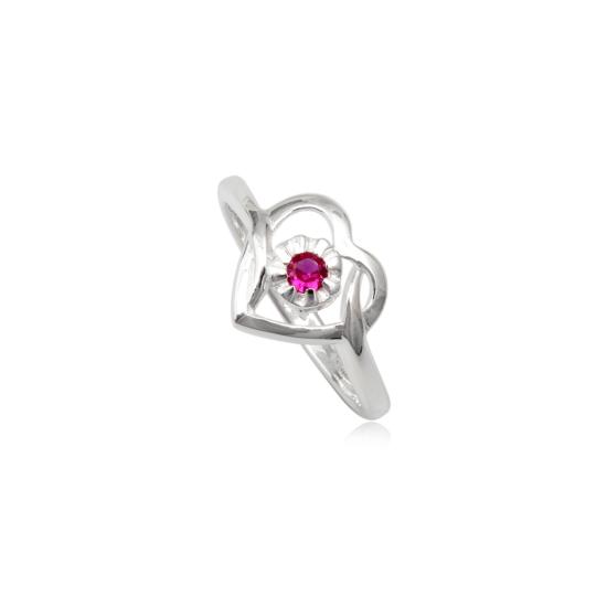 Szív alakú ezüst gyűrű pink cirkónia kristállyal