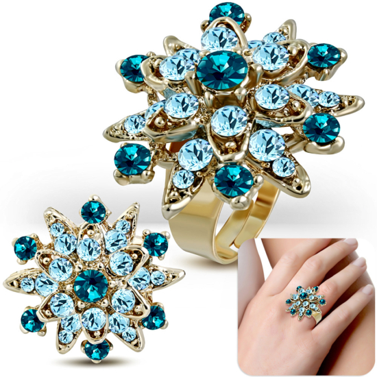 Állítható, virág alakú koktél gyűrű világoskék cirkónia kristállyal