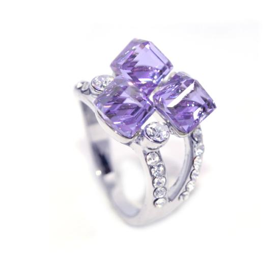Lila Swarovski kristályos dizájner gyűrű-8