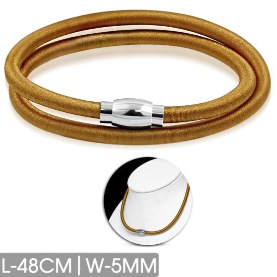 Világos barna színű nyaklánc, nemesacél mágneses zárral