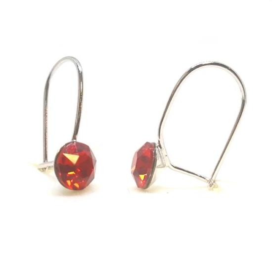 925 ezüst fülbevaló ékszer Swarovski® kristállyal - vékony, Light Siam