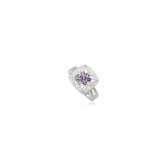 Ezüst gyűrű lila cirkónia kristállyal-7