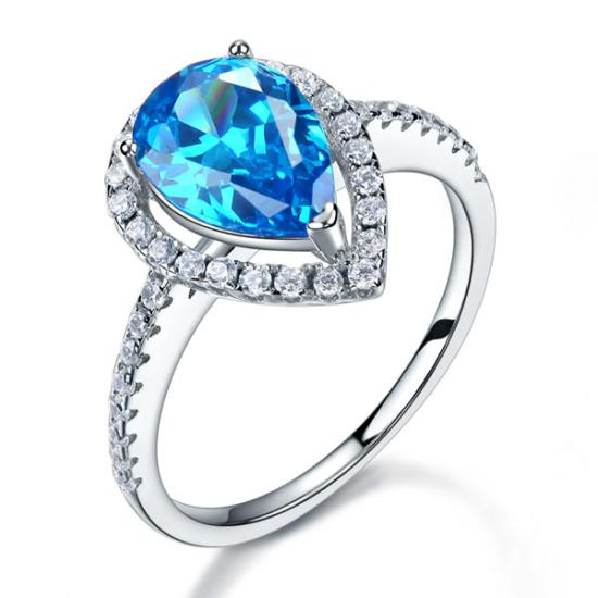 Ezüst gyűrű kék szintetikus gyémánt kővel
