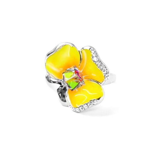 Sárga árvácska Swarovski kristályos gyűrű, arany színű