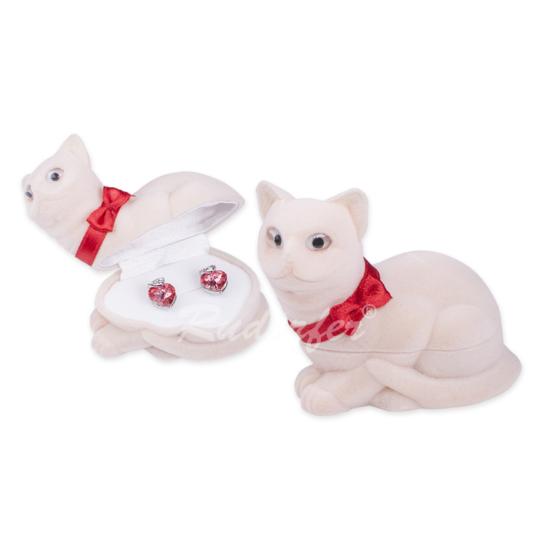 Krém színű, cica alakú ékszertartó doboz
