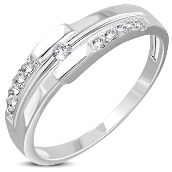 Ezüst színű, karika gyűrű, cirkónia kristállyal
