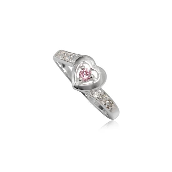 Szív alakú ezüst gyűrű rózsaszín cirkónia kristállyal-7