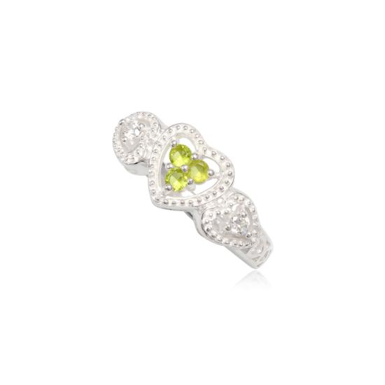 Szív alakú ezüst gyűrű zöld cirkónia kristállyal-6