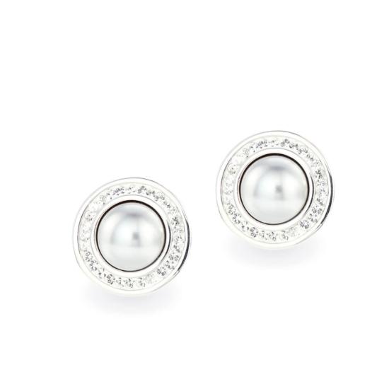 Swarovski ® kristályos gyöngy ezüst fülbevaló - Pearl Világos szürke