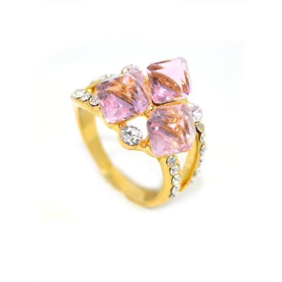 Rózsaszín Swarovski kristályos dizájner gyűrű-6