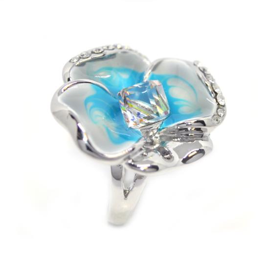 Kék árvácska Swarovski kristályos gyűrű, ezüst színű-7
