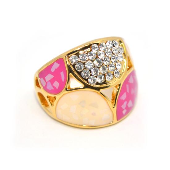 Rózsaszín Swarovski kristályos dizájner gyűrű, arany színű