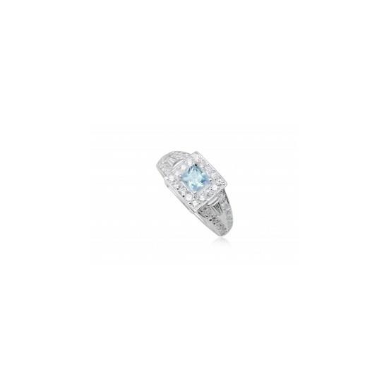 Ezüst gyűrű világoskék cirkónia kristállyal-7
