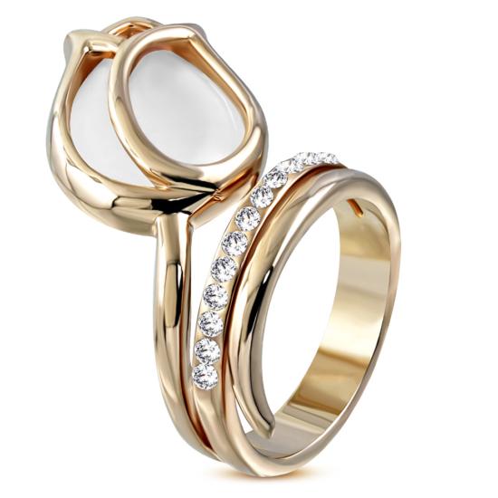 Arany színű, rózsafej alakú koktél gyűrű, cirkónia kristállyal-5,5