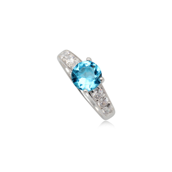 Ezüst gyűrű kék cirkónia kristállyal-9