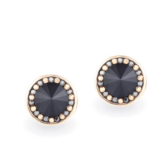 Swarovski® kristályos rózsaarany bevonatú ezüst fülbevaló - Brilliance Orbit Fekete
