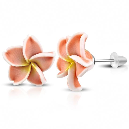 Barackszínű pluméria virág fülbevaló