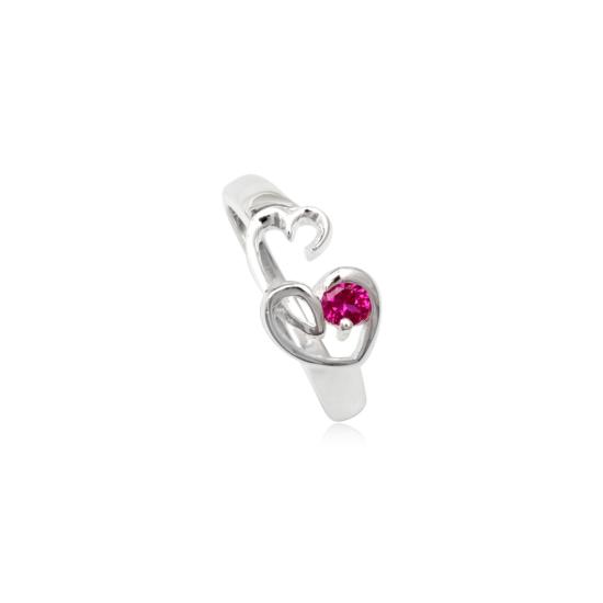 Szív alakú ezüst gyűrű rózsaszín cirkónia kristállyal-9